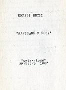 Bryll Ernest Zapisane z nocy Warszawa Wytrwałość 1983 Muzeum Wolnego Słowa
